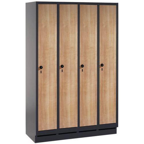 Garderobekast met houten deur Evolo - 2 tot 4 kolommen breedte 300 mm - Op sokkel