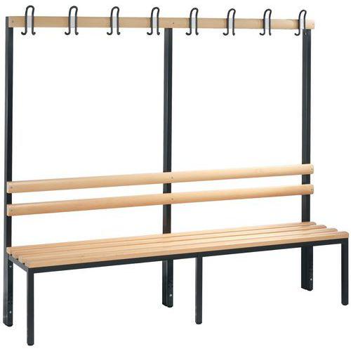 Bank met kapstok hout CP - 4 tot 8 kledinghaken - Enkelzijdig