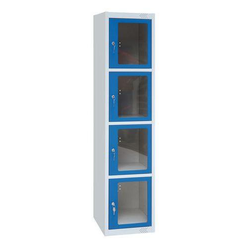 Garderobekast met transparante deur 4 vakken - 1 kolom breedte 400 mm - Op voet - Manutan