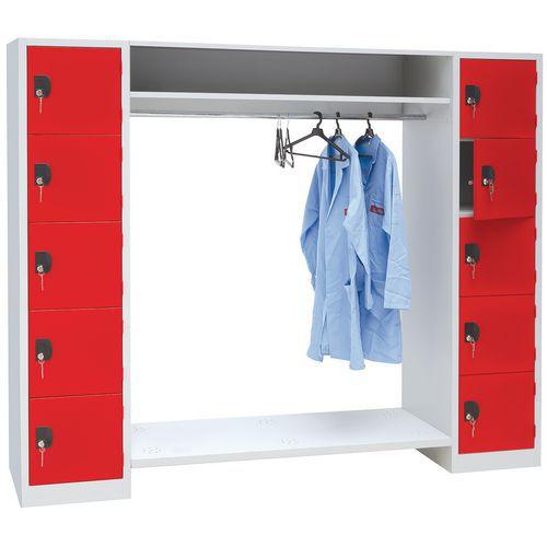 Garderobekast 10 vakken en kledingstang - Lengte kledingstang 900 mm - Manutan
