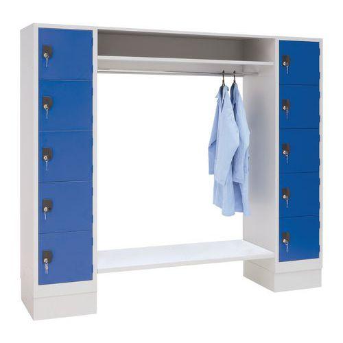 Garderobekast 10 vakken en kledingstang - Lengte kledingstang 1350 mm - Manutan
