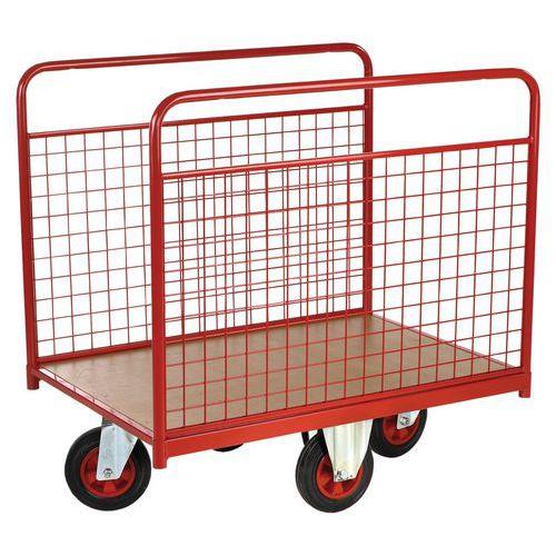 Gaaswandplateauwagen met wielen in ruitvorm - Draagvermogen 500 kg - 2 vaste zijpanelen