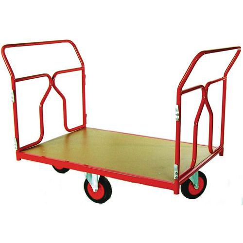 Plateauwagen met wielen in ruitvorm - Draagvermogen 500 kg - 2 ruggen