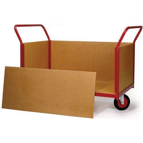 Plateauwagen met houten wanden en wielen in ruitvorm - Draagvermogen 500 kg - 2 ruggen + 2 zijpanelen