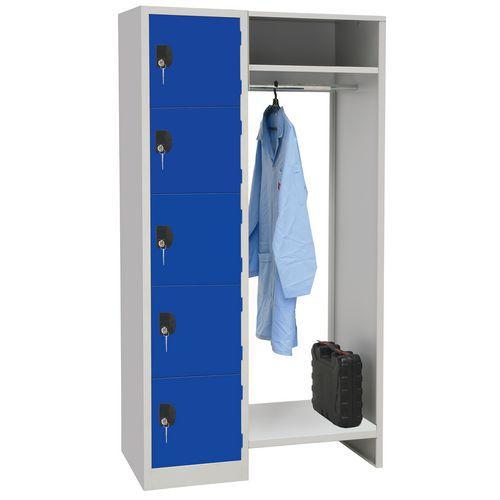 Garderobekast 5 vakken en kledingstang - Lengte kledingstang 450 mm - Manutan