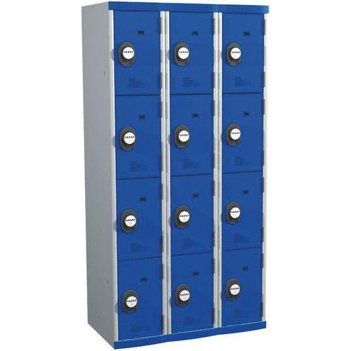 Garderobekast 12 vakken Seamline Optimum® - 3 kolommen breedte 300 mm - Op voet