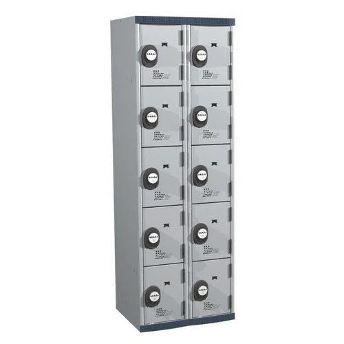 Afbeelding van Garderobekast 10 vakken Seamline Optimum® - 2 kolommen breedte 300 mm - Op voet