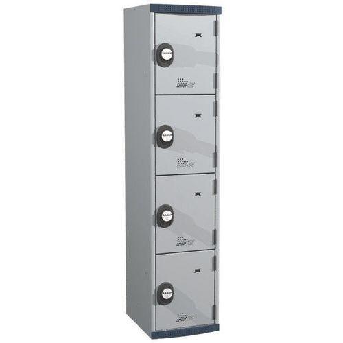 Garderobekast 4 vakken Seamline Optimum® - 1 kolom breedte 400 mm - Op voet