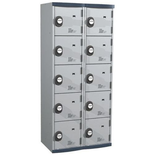 Garderobekast 10 vakken Seamline Optimum® - 2 kolommen breedte 400 mm - Op voet