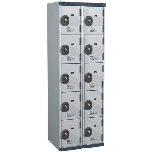 Garderobekast 10 vakken Seamline Optimum® - 2 kolommen breedte 300 mm - op sokkel - Acial
