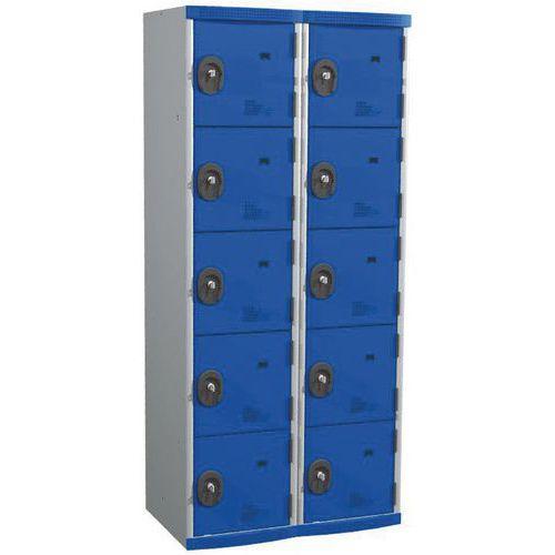 Garderobekast 10 vakken Seamline Optimum® - 2 kolommen breedte 400 mm - op sokkel - Acial