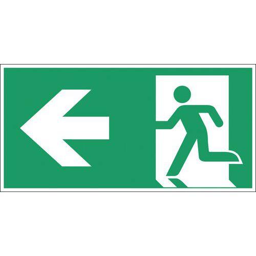 """Afbeelding van Bord voor ontruiming - Nooduitgang naar links\"""" - Hard\"""""""