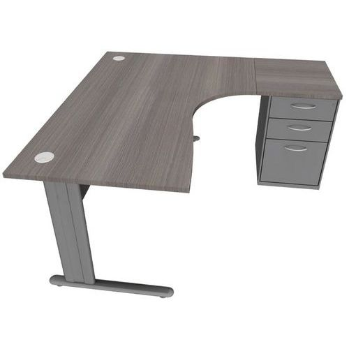 Compact bureau met blok lichtgrijs manutan for Ladeblok onder bureau