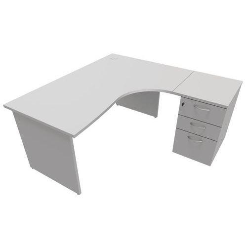 Compact bureau met ladeblok - Onderstel met wangen - Grijs - Manutan