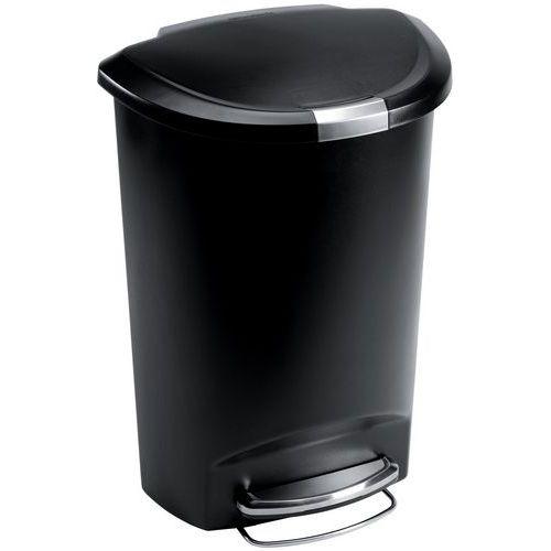 Halvemaanvormige afvalbak met pedaal van kunststof - 50 l