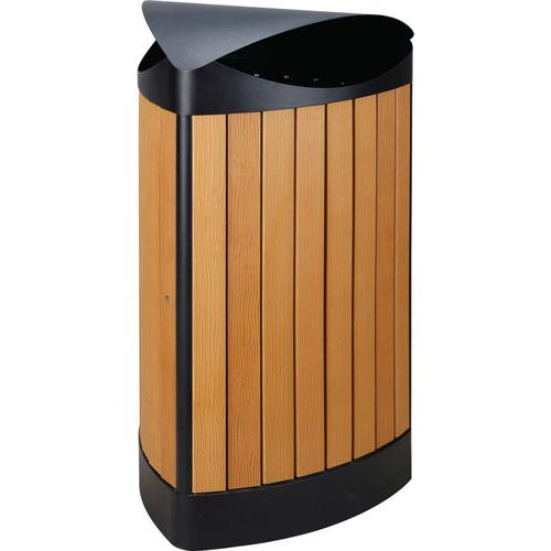 Driehoekige buitenafvalbak houtlook 60 ltr - Vepabins
