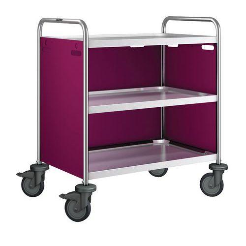 Trolley voor wagen rvs met 2 tot 3 legborden, draagvermogen 120kg - 3wanden