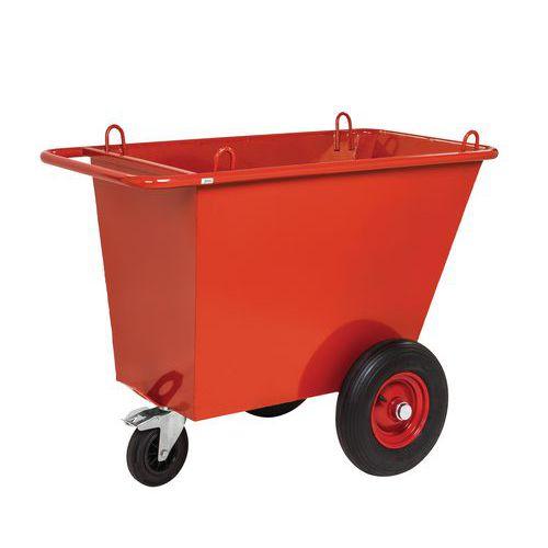 Afvaltrolleys 400 L met pneumatisch wielen - Kongamek