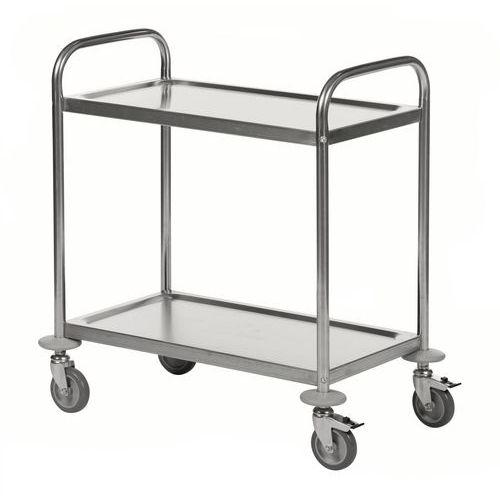 Rvs trolley met 2 plateaus