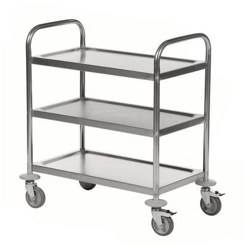 Rvs trolley met 3 plateaus
