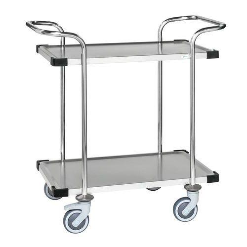 RVS trolley met 2 plateaus KM60364