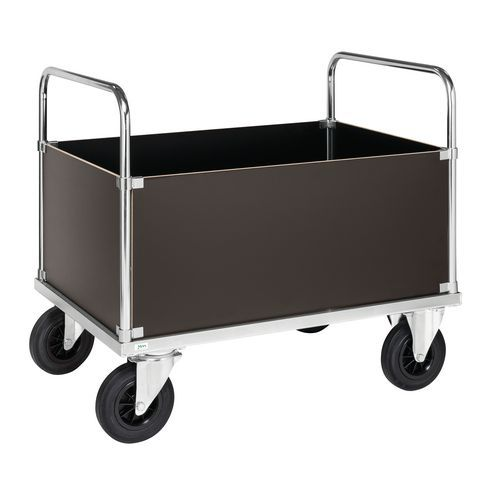 Stalen wagen - 4 hoge dichte wanden - 2 duwbeugels - draagvermogen 500 kg