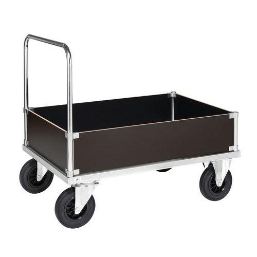 Stalen wagen - 4 lage dichte wanden - 1 duwbeugel - draagvermogen 500 kg
