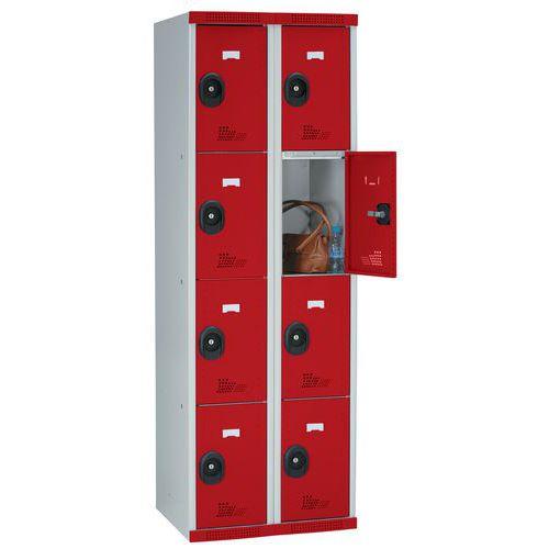 Garderobekast 8 vakken Seamline Optimum® - 2 kolommen breedte 300 mm - op sokkel - Acial