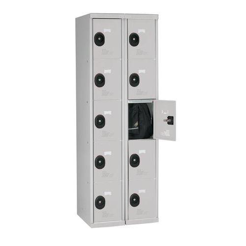 Garderobekast 10 vakken Seamline Optimum® - 2 kolommen breedte 300 mm - Op voet