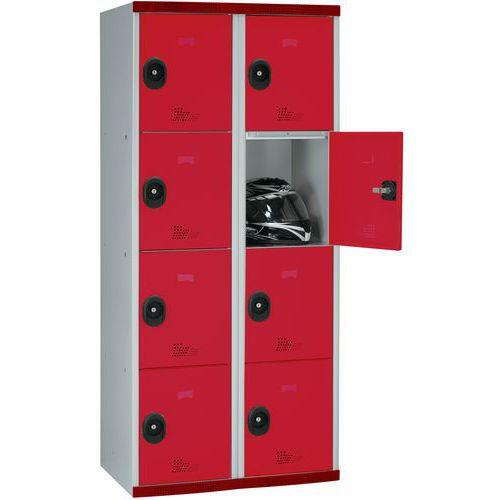 Garderobekast 8 vakken Seamline Optimum® - 2 kolommen breedte 400 mm - Op voet