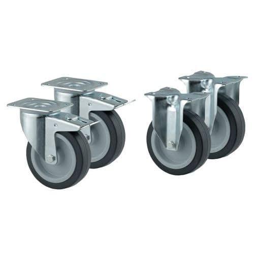Set van 4 wielen - 2 vaste en 2 zwenkwielen met rem - Draagvermogen 250kg