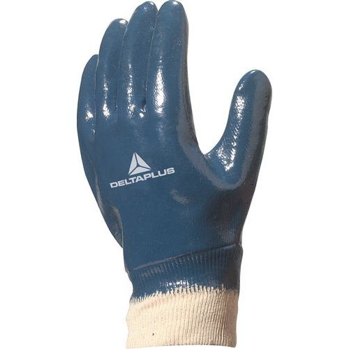 Handschoen nitril Blauw Geheel Gecoat Tricot Boord