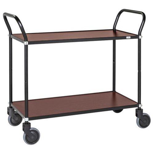 Stalen wagen met 2 houten plateaus - 2 handgrepen - Draagvermogen 250 kg