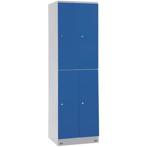Garderobekast met 4 vakken en kledingstang Collectivite - 2 kolommen breedte 400 mm - Op sokkel