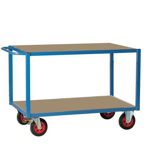 Tafelwagen met houten plateau 500kg - 2 plateaus - Rubberen banden