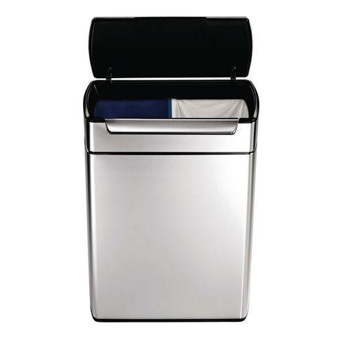 Rechthoekige afvalbak Touch-Bar - 2 x 24l - Simplehuman
