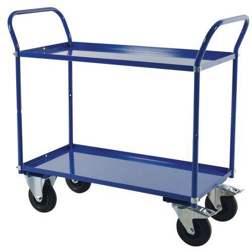 Trolley 2 metalen plateaus 400 KG