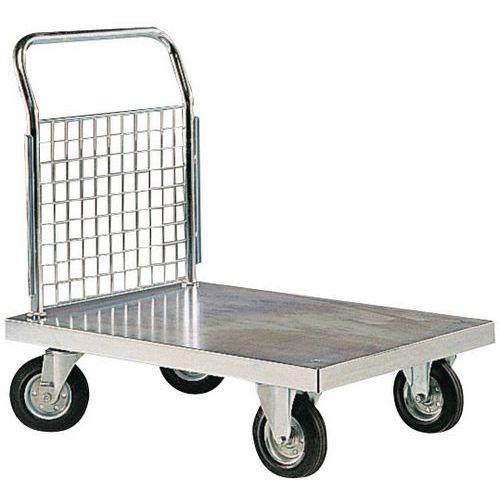 Gegalvaniseerd stalen plateauwagen - 1 vaste duwbeugel - Laadvermogen 300 kg