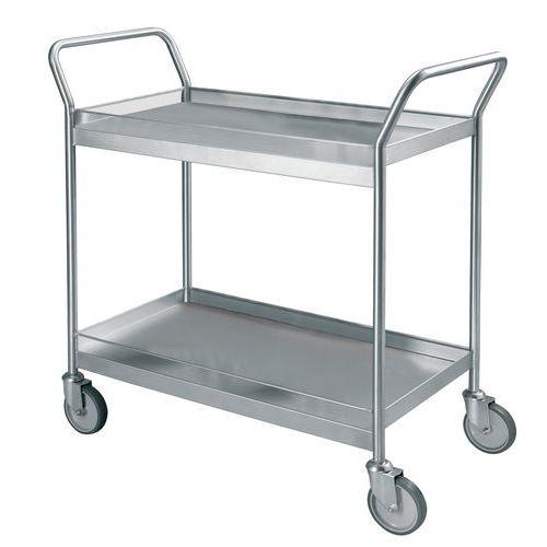 Rvs serveerwagen met draadstangen - 2 legborden - Draagvermogen 300 kg