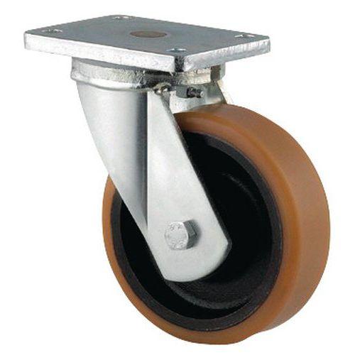 Zwenkwiel met grondplaat - Draagvermogen 450 tot 2000 kg - Met gietijzeren velg