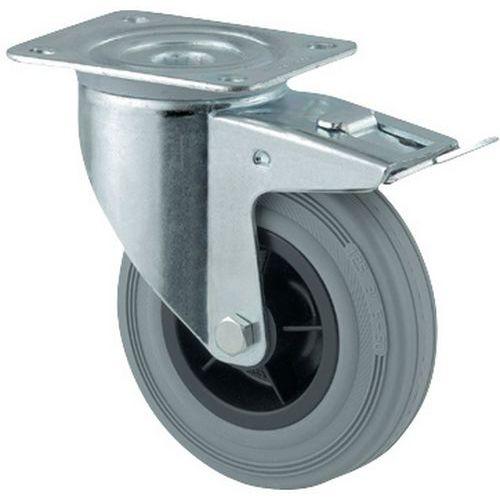 Zwenkwiel met grondplaat en rem - Draagvermogen 70 tot 205 kg - Grijs