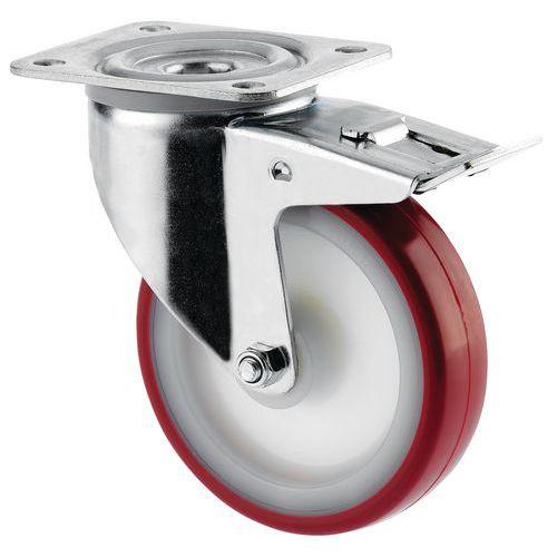 Zwenkwiel met grondplaat geremd - Draagvermogen 100 tot 400 kg