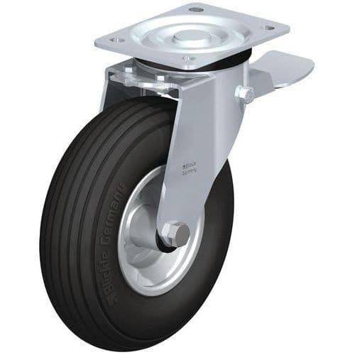 Zwenkwiel met grondplaat geremd - Draagvermogen 75 tot 250 kg