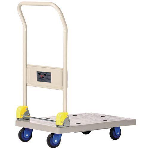 Kunststof plateauwagen met neerklapbare duwbeugel - Laadvermogen 150 kg