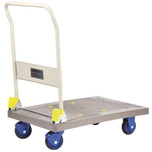 Kunststof plateauwagen met neerklapbare duwbeugel - Laadvermogen 300 kg