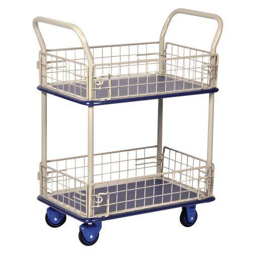 Etagewagen met gaaswanden - 2 legborden - Draagvermogen 150 kg