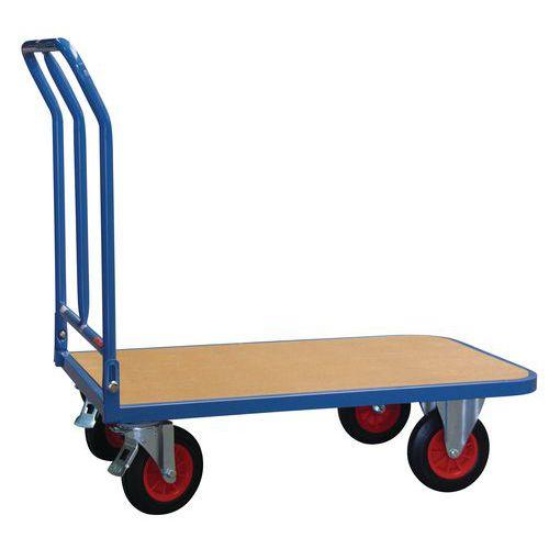 Plateauwagen met houten legbord en neerklapbare rug - Draagvermogen 400 kg