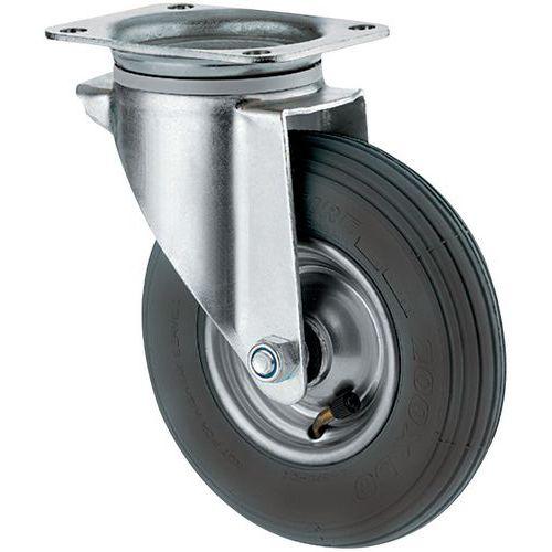 Zwenkwiel met grondplaat - Draagvermogen 75 tot 200 kg - Luchtband