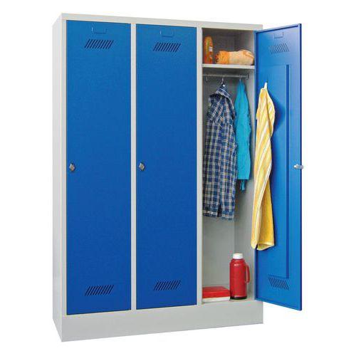 Garderobekast Medium 300 - Op sokkel - Schone industrie - Hangslothouder - 3 kolommen