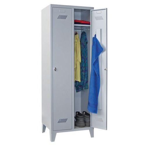 Garderobekast Medium 300 - Op poten - Schone industrie - Hangslothouder - 2 kolommen